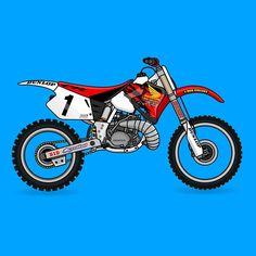 The Kings chariot | #mcgrath #honda #cr250 #showtime #supercross #vector #motoart #motonerd #motocross #behance #dribbble #dirtbike #illustrator #90smx #twostroke by instagram.com/handlos308