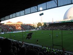 Söderstadion. Hammarby IF vs. Gefle IF 2-1 (12.5.2008). Allsvenskan.  I'm glad I had the chance to visit this stadium before its demolition.