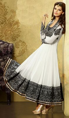 White and Black Embroidered Georgette Long Anarkali Dress Price: Usa Dollar $111, British UK Pound £65, Euro82, Canada CA$121 , Indian Rs5994.
