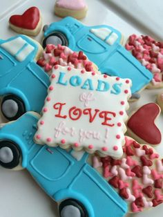 valentine day cookies, valentine's cookies, little blue truck, loads of love Iced Cookies, Cut Out Cookies, Cute Cookies, Easter Cookies, Royal Icing Cookies, Cupcake Cookies, Sugar Cookies, Cupcakes, Onesie Cookies