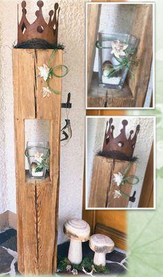 altholz holz deko herbst natur holzlaterne aus alten. Black Bedroom Furniture Sets. Home Design Ideas