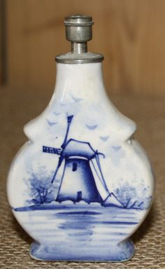Antique Blue & White Porcelain Delft Perfume Bottle with Windmill Scene and Metal Cork Cap Blue And White China, Blue China, Green And Purple, Delft, Travel Size Perfume, Antique Perfume Bottles, Pottery Making, Glazes For Pottery, Blue Nails