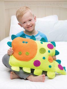 Crochet a 'Roarrry Dinosaur' by Debra Arch – So Cheerful and Fun! Crochet a 'Roarrry Dinosaur' by Debra Arch - So Cheerful and Fun! Crochet For Boys, Crochet Home, Cute Crochet, Crochet Dolls, Crochet Cushions, Crochet Pillow, Crochet Dinosaur Patterns, Dinosaur Blanket, Craft Ideas