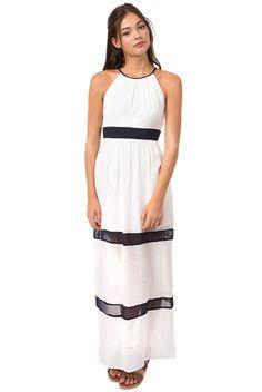 Teeze Me High Neck Color Block Maxi Dress - Off White/Navy