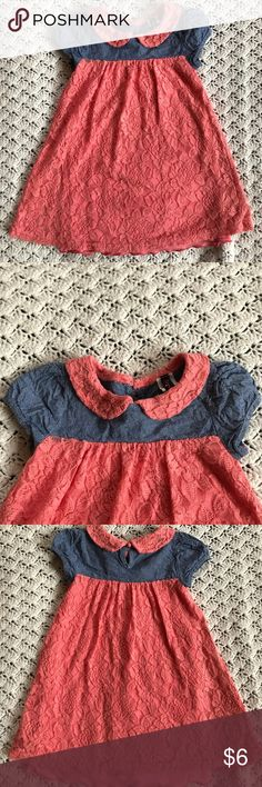 Girl coral and denim lace dress size 2t Check out my bundle deal!  Girl's 2t dress  Denim top with puff sleeves  Coral lace skirt and Peter Pan color  Good used condition, gently used but no stains or tears  Smoke and pet free home Lilly bleu Dresses Casual