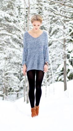 Shopping list for closet: loose knit sweater and black leggings