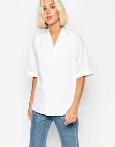 Image 1 - ASOS White - Chemise en coton à croiser sur le devant