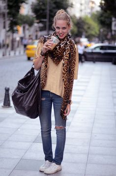 Switch the shoes to vans...take the purse out and I love the outfit... I could use a different scarf too :)