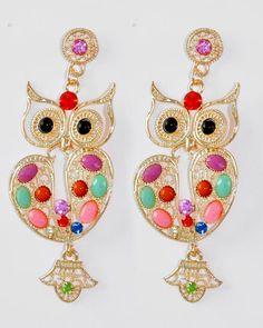 Gold Tone / Multi Color Acrylic / Clear Rhinestone / Lead Compliant / Owl Dangle / Post Earring Set