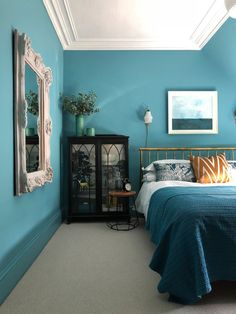 Revamp, Restyle, Reveal; DesignSixtyNine's Guest Room Reveal. Walls are Earthborn paint Polka Dot, a bright turquoise shade.