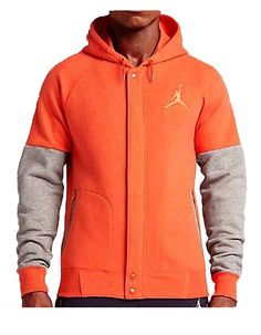 2965650a18b3d0 Nike Men s Air Jordan THE VARSITY HOODIE Orange Heather 689020-829 a  Jordan
