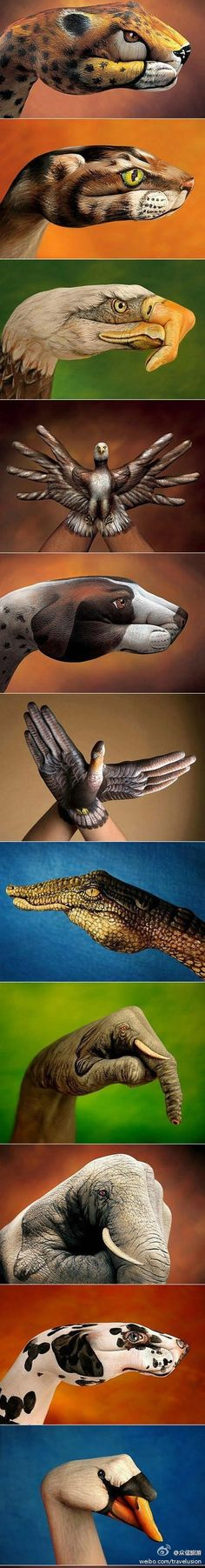 Hand Paint - body art using hands Wow Art, Hand Art, Looks Cool, Oeuvre D'art, Les Oeuvres, Amazing Art, Cool Pictures, Art Drawings, Art Photography