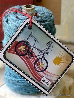 Tags by Connie Mercer using Darkroom Door Brushstrokes, Enjoy The Ride, Paint Splats and All Occasions Rubber Stamp sets.