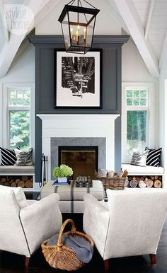 Living Room With Fireplace And Windows fireplace between windows?? | home | pinterest | living rooms