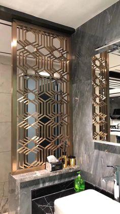new Ideas metal screen design spaces Living Room Partition Design, Room Partition Designs, Window Grill Design, Screen Design, Home Room Design, House Design, Design Design, Metal Screen Doors, Decorative Metal Screen