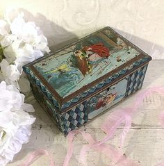 Shabby Rustic Pierrot Courtship 1920s Antique Tin Box Blue