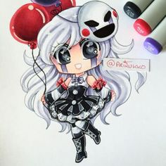 A chibi of my female humanised Marionette (From Five Nights at Freddy's~ I've been meaning to draw her again and I finally got the time to! =D Hope you like it! Anime Fnaf, Anime Kawaii, Anime Chibi, Fnaf Oc, Five Nights At Freddy's, Fnaf Drawings, Cute Drawings, Small Drawings, Fnaf Sister Location