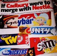 If Cadbury Merged With Nestle ewww lol Nickers, Lost Socks, Snack Recipes, Snacks, Healthy Foods To Eat, Pop Tarts, Yummy Treats, Cereal, Lose Weight