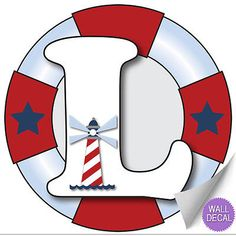 Wall Letters l Nautical Ocean Sailing Custom Letter Children's Nursery Baby's Room Baby Name Boys Bedroom Decor Alphabet Initial Vinyl Stickers Decals Kids Decorations Decal Boat Whale Anchor Girls