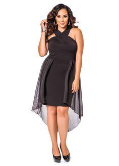 Ashley Stewart Web Exclusive Surplice Long Over Short Dress