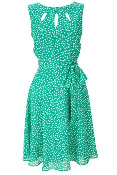 Green Spot Print Keyhole Dress