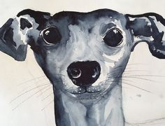 Aquarell: Der blaue Karfunkelhund – Creative club www.creativeclub.blog - Süßer Whippet
