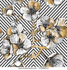 Seamless pattern with gold flowers cherry on a black geometric background. Vector illustration.