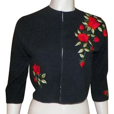 Vintage 1960's Black Wool Sweater With Embroidered Red Roses