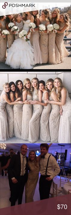 Gold / Tan sequin bridesmaid dress Good / Nude dress with silver sequin details. Wore once as a bridesmaid, would be perfect for a bridesmaids dress in a mix match gold or nude theme, or as a wedding guest dress for black tie weddings! Dresses Wedding
