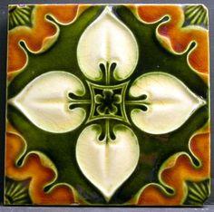 Antique Embossed Art Noveau Ceramic Tile - Henry Richards - 1903