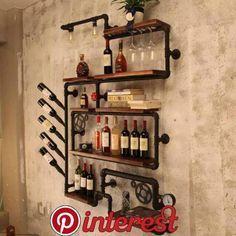 Home Bar Designs Decor Wine Racks 18 Ideas For 2019 Industrial Wine Racks, Industrial Pipe, Wine Rack Design, Pipe Decor, Home Bar Designs, Wine Rack Wall, Creation Deco, Pipe Shelves, Pipe Furniture