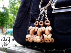 Three Wise Monkeys Cute Keychain Made to Order by AGSculpts