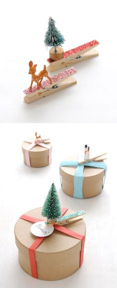 DIY Clothespin gift toppers