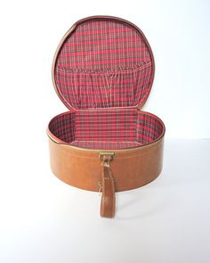 Vintage Suitcase Round Luggage Red Plaid Tan Faux Leather Shabby Chic Cottage Decor Retro Bag