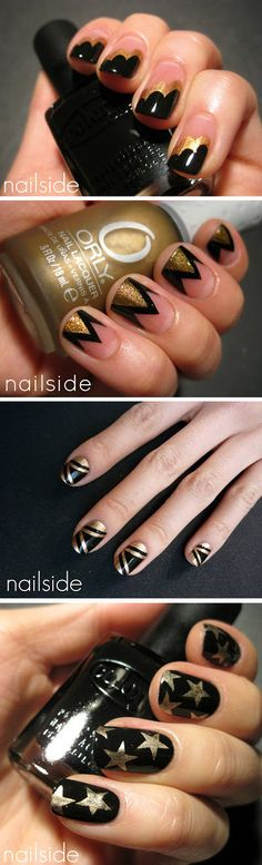 Black & Gold nails - Wonder if Nicole could do this for me :D