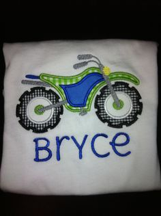 Dirt Bike Applique Shirt - for PJ's birthday shirt?