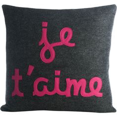 Alexandra Ferguson Je t' aime Decorative Throw Pillow ($97) ❤ liked on Polyvore featuring home, home decor, throw pillows, pillows, french home decor, french throw pillows and hot pink throw pillows
