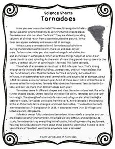 This easy to read, one page passage all about tornadoes is perfect for science. Reading Comprehension Passages, Comprehension Questions, Science Worksheets, Science Activities, What Causes Tornadoes, Earthquake Hazards, Teaching Science, Science Education, 5th Grade Science