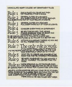 immaculate heart college art department rules