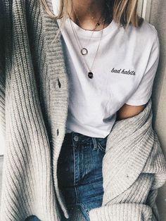 8a2e2d2709a Bad Habits T-shirt Tumblr Shirt Tumblr Clothes Aesthetic Autumn Fashion  2017, Autumn Style
