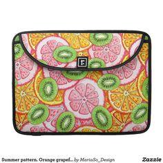 Summer pattern. Orange grapefruit and kiwi fruit. MacBook Pro Sleeve