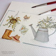 Garden watercolor illustration