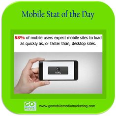 Mobile Stat of the Day: 58% of mobile users expect mobile sites to load as quickly as, or faster than, desktop sites.    If your site takes a long time to load on a smartphone, a good solution would be to create a customized mobile website. You can have a mobile-optimized demo site created at no obligation by requesting one here: http://www.gomobilemediamarketing.com/your-customers-are-mobile-are-you/