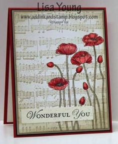 Add Ink and Stamp: SU! Pleasant Poppies on Music notes wheeled background - such a pretty look with red and crumb cake color combination