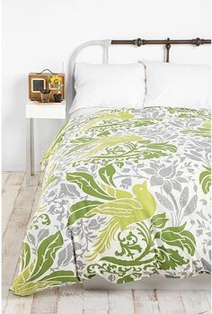 potential second bedroom duvet with a DIY green upholstered headboard?