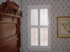 in Louver Traditional Shutters - Pair - Double Hung. Traditional Shutters, Alcove, Valance Curtains, Interiors, Mirror, Furniture, Home Decor, Decoration Home, Room Decor