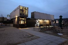Starbucks Coffee Shop Made From Shipping Containers View
