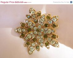 Vintage Green Rhinestone Flower Petals Gold by MemawsTopDrawer, $22.95