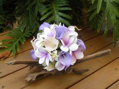 Frangipani Plumeria Calla Lily Real Touch Bouquet by Abloomortwo
