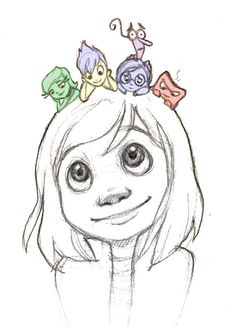 Pixar's Inside Out by loofa-art - Riley with her emotions: Joy, Sadness, Fear, Disgust and Anger